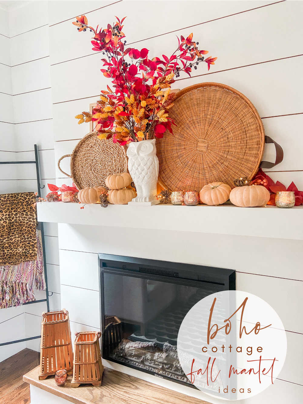 Boho Cottage Easy Fall Mantel Ideas. Create a earthy, textured mantel using items you already have!