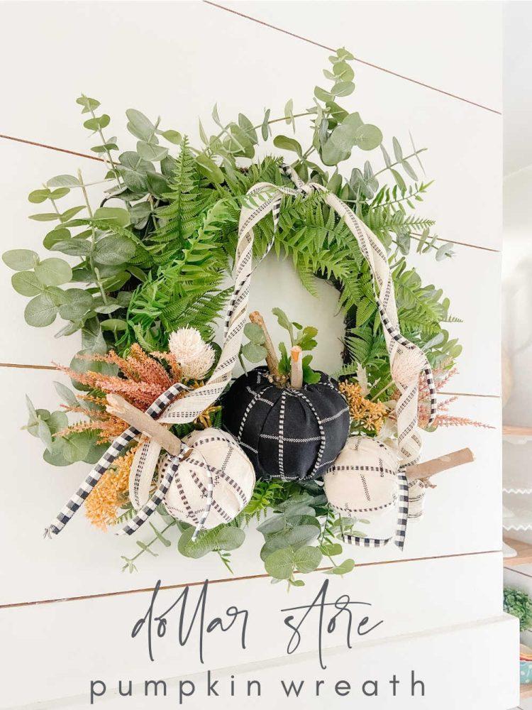 Dollar Store Fabric Pumpkin Wreath