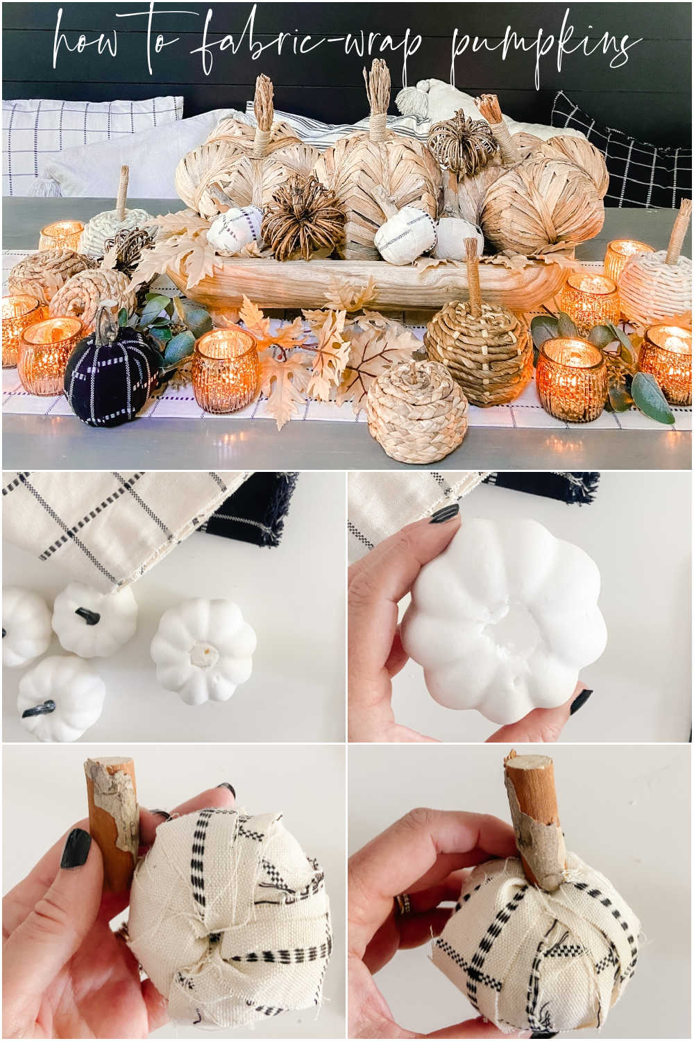 Boho Cottage Fall Tablescape. Create a warm and inviting table by making a DIY table runner, pillows and a beautiful footed bowl centerpiece filled with textured, fabric-covered pumpkins and leaves.