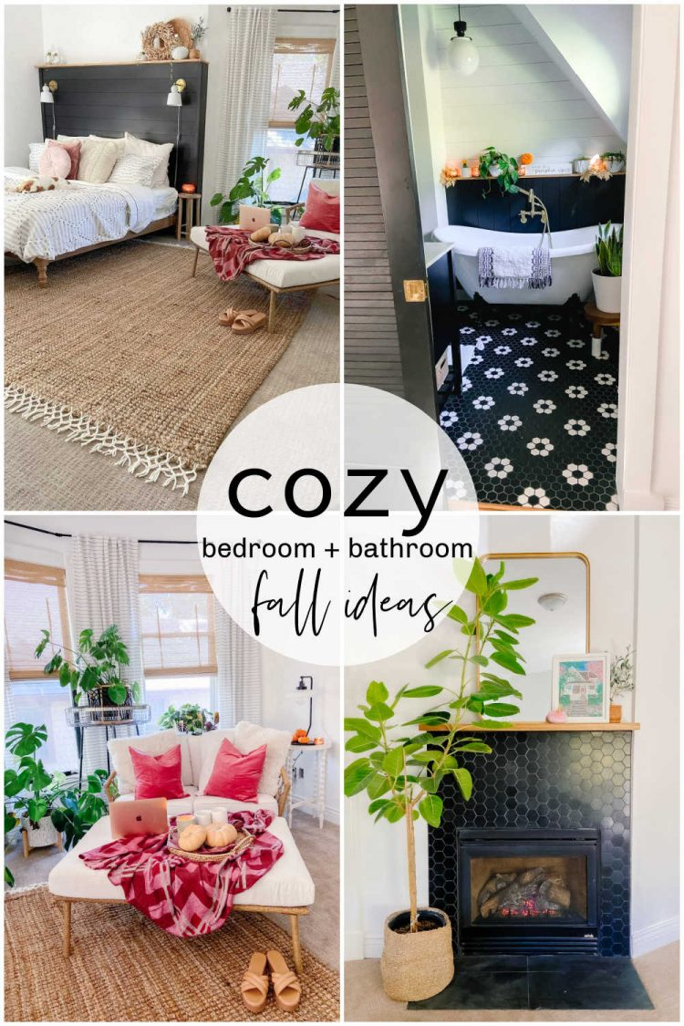 Cozy bedroom and bathroom for fall