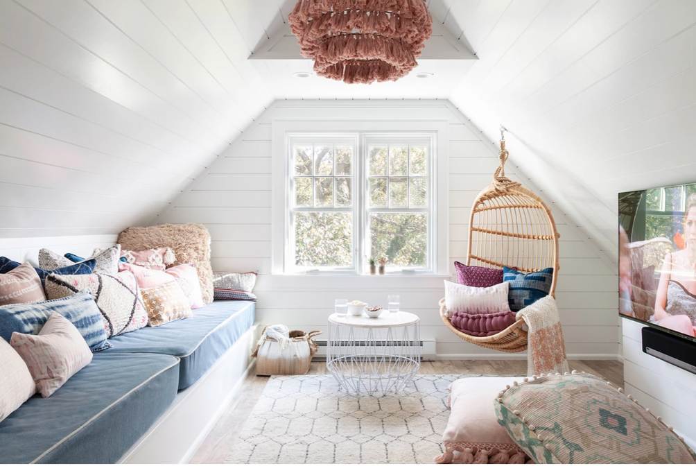 Creating a Warm and Relaxing Great Room. Turn a little used space into a fun, bright hang out and movie room for teens!