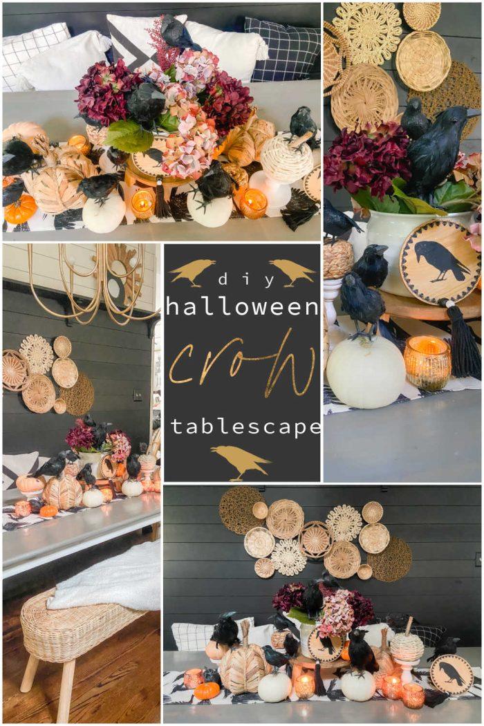 Easy Halloween Crow Tablescape
