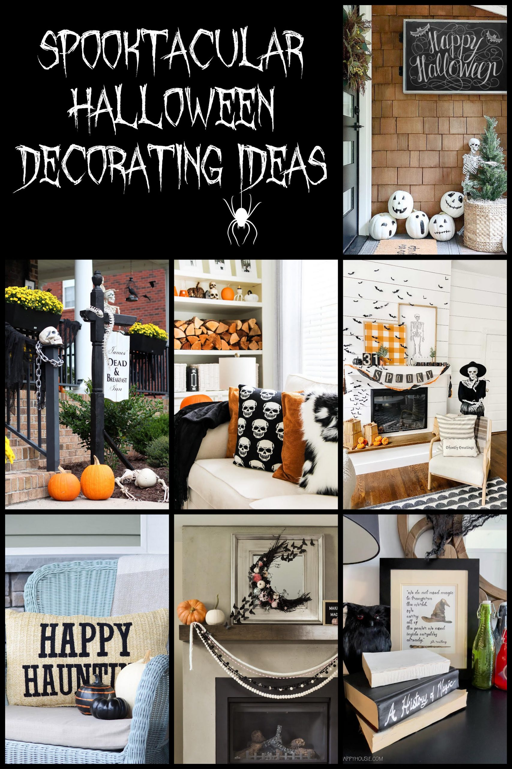 Spooky Halloween Decor and Mantel. Add some spooky charm to your home with these easy Halloween ideas, signs, banner and decor!